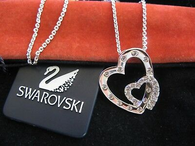 Swarovski Swan Signed Crystal Double Heart  Pendant Necklace New Rare Retired