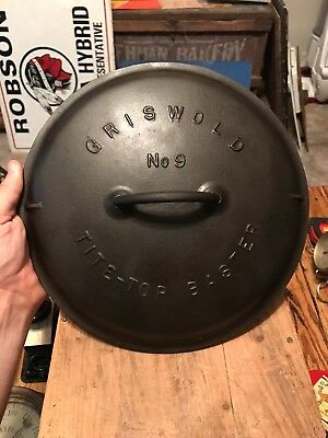 1920 Griswold #9 Tite-Top Baster Dutch Oven Cast Iron Cover Slant Logo Lid Nice!