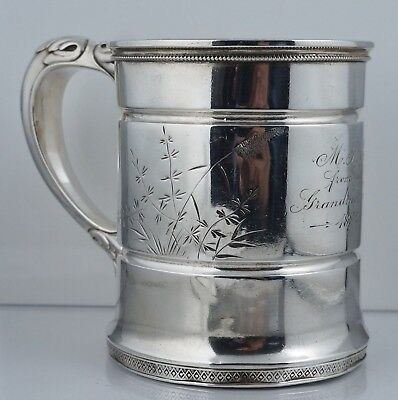 Victorian Whiting Manufacturing Aesthetic Sterling Silver Mug Cup Handle Antique