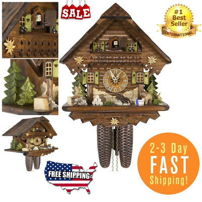 German Cuckoo Clock Summer Meadow Chalet Birds with 8 Day Movement Wood 13 1/3""