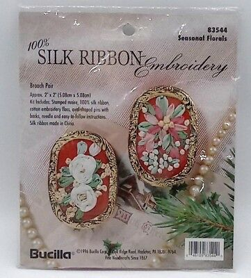 Bucilla Silk Ribbon Embroidery Brooch Pin Kit Make Your Own Seasonal Florals New