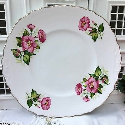 ROYAL VALE 1950s CAKE SERVING PLATE - PINK TRUMPET FLOWERS - GILDED BONE CHINA