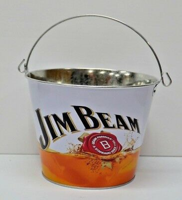 "Jim Beam Bourbon New ""The Bourbon"" Metal Drinks Ice Chill Bucket With Handle"