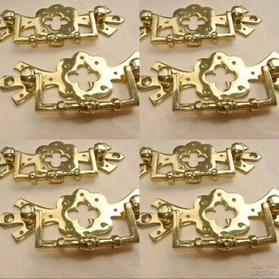 """8 heavy handles polished pull solid brass heavy old vintage style drawer 4"""""""