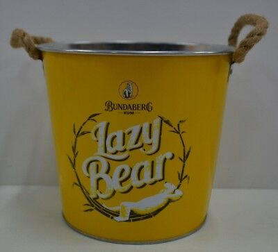 Bundaberg Rum Lazy Bear Bundy Brand New Rope Handled Yellow Metal Ice Bucket