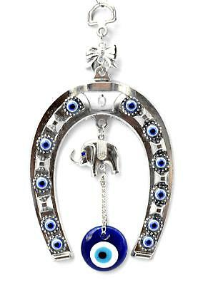 Blue Evil Eye with Horse Shoe Hanging Decoration for Protection (With a