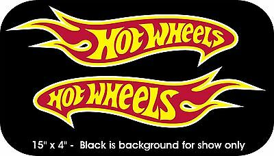 """2 Hot Wheels Decals Car Sticker Red Yellow and White Vinyl New 15"""" x 4"""" each"""