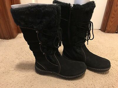 48b4d19f7f3ad NEW NWT Black Real Suede Winter Boots Size 8 Womens St. John s Bay JC  Penney s