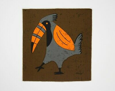 Vintage 1960s 70s Brown / Orange / Grey Toucan Fabric Wall Hanging - Signed