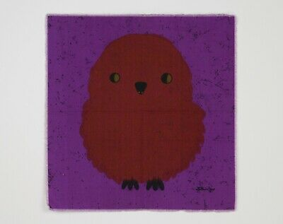 Vintage 1960s 70s Purple / Brown Chick Fabric Wall Hanging - Signed