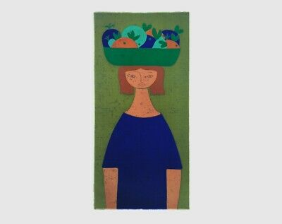 Vintage 1960s 70s HUGE Green Girl & Fruit Fabric Wall Hanging - Signed