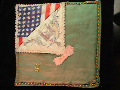 "American Civil War Souvenir, silk pocket, ""Forget me not"" 35 Star US Flag"