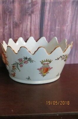Antique Chinese Crown Planter Ceramic Cachepot Vase Gardener Armorial Style