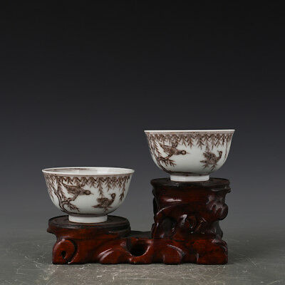 A Pair China antique Porcelain Ming Xuande Underglaze red flowers and birds Cup