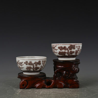 A Pair China antique Porcelain Ming Xuande Underglaze red pine bamboo Plum Cup