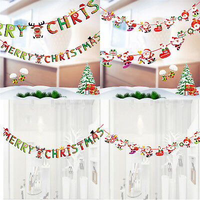 Merry Christmas Banner Felt Christmas Santa Flags Banner Hanging Decoration TY