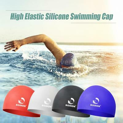 High Elastic Silicone Swimming Cap Waterproof Comfortable Hair Care Protect A6R1