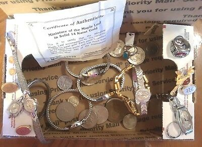 H #1 Antique to Vintage Jewelry lot Watches Coins Pins Rings