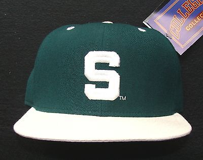 1990s MICHIGAN STATE SPARTANS VINTAGE NEW ERA 100% WOOL FITTED CAP SIZE 6 3/4