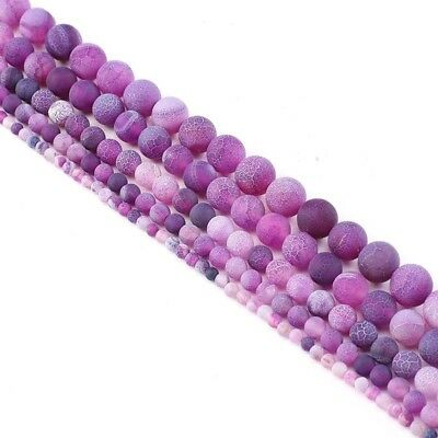 6 810 mm Wholesale Natural Stone Frosted Striped Purple Agate Round Loose Beads