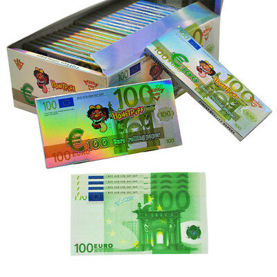 24 Booklet = 576 Leaves €100 Euro Bill Rolling Papers Cigarette Tobacco Paper