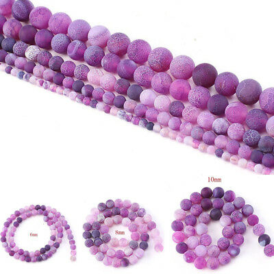 Natural Stone Agate Frosted Crab Purple Round Loose Beads 6 8 10 mm For Jewelry