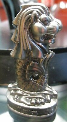 """Singapore Merlion 2"""" Silver Metal Figure Paper weight with Lion Head & Fish Body"""