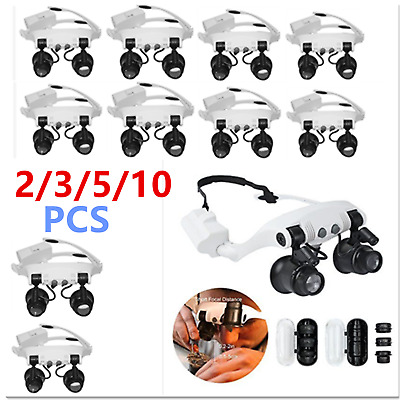 10PCS 10/15/20/25X Head Wearing Magnifier Magnifying Glass Loupe With 2LED Li CM