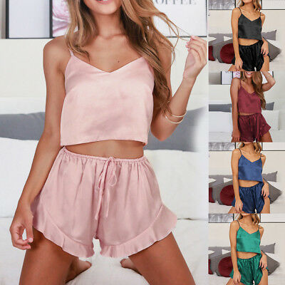 Sexy-Lingerie Women Sleepwear Satin Silk Babydoll Lace Up Nightwear Pajamas Set