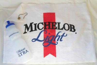 Michelob Ultra Beer Golf Towel 32oz Water Bottle 24x16 White Clip Hook Official