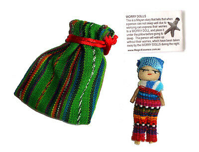 Large WORRY DOLL in Textile Bag - Hand made in Guatemala - BOY - RED Pouch