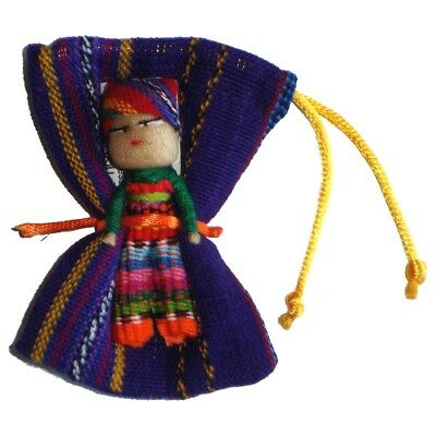 Large WORRY DOLL in Textile Bag - Hand made in Guatemala - BOY - PURPLE Pouch