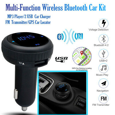 Wireless Bluetooth LCD FM Transmitter Modulator Car Kit MP3 Player 2 USB Charger
