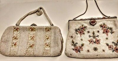 LOT of 2 VINTAGE Evening Bags White Seed Bead Pink Floral, Made in France, Japan