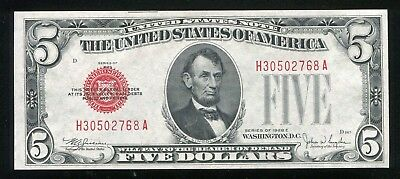 1928-E $5 Red Seal Legal Tender United States Note Gem Uncirculated