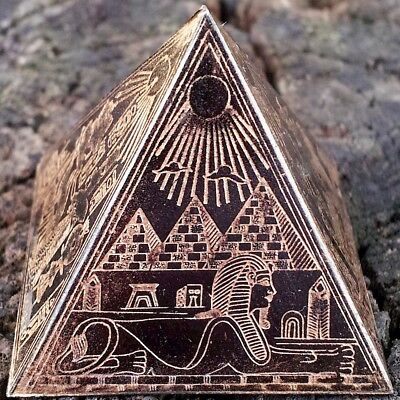 Antique Egyptian Metal Pyramid~Etched Brass/Bronze/Copper~Ancient Egypt King Tut