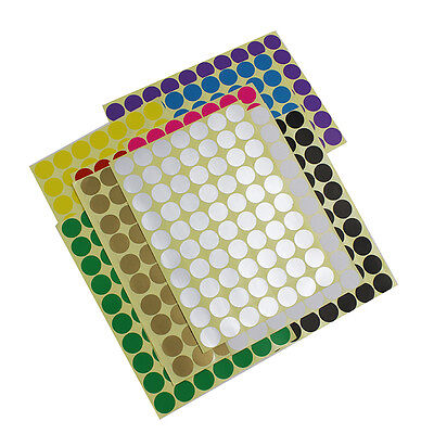 19mm Round Dot Stickers Coloured Circles Circular Sticky Paper Labels Adhesive