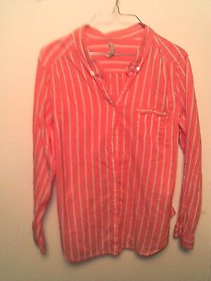 fa826e27 OLD NAVY ~ Women's XL Coral Striped Long Sleeve Button Up Blouse Top