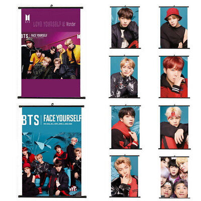 KPOP BTS Face Yourself Hanging Scroll Poster Cloth Art Painting Wall Decor Gifts