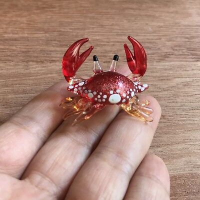 Small Red Glass Crab Figurine Art Handcrafted Hand Blown Glass Crab Figurine