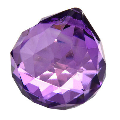 1X( 30mm Purple Crystal Ball Prisms R9F7)