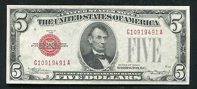 1928-C $5 Five Dollars Red Seal Legal Tender United States Note Gem Unc