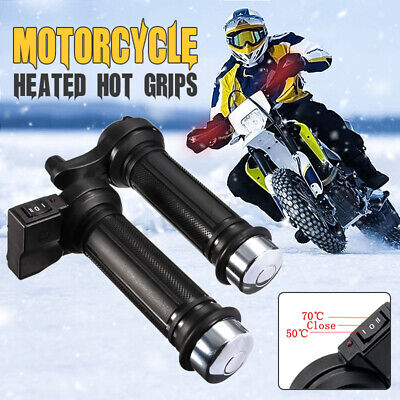 22mm 7/8'' 12V Motorcycle Bike Heated Grips Handlebar Warm Winter Heater 50°-70°