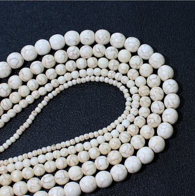 40Pcs 4-10MM Wholesale Natural Gemstone White Turquoise Beads Round Loose Beads
