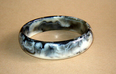 OLD Vintage ART DECO OLD Plastic Bracelet Bangle Marbled Swirls