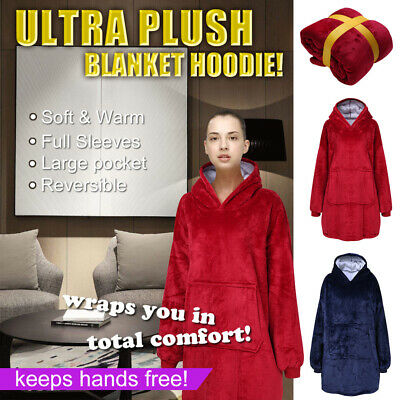 Huggle Hoodie Soft & Warm Ultra Plush Blanket Hoodie One Size For Indoor&Outdoor