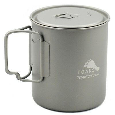 TOAKS Titanium Cook Pot with Foldable Handles for Outdoor Camping