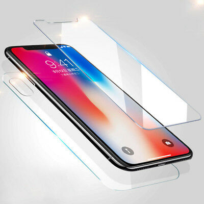For iPhone XS Max XR 8 7 6 Plus Front+Back Tempered Glass Screen Protector Film