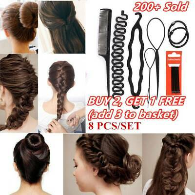 8 Pcs/Set Styling Clip Bun Maker Hair Twist Braid Ponytail Hair Accessories New