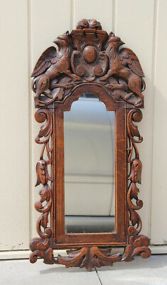 Antique German wood carved black forest Griffon Dragon gothic Castle wall mirror